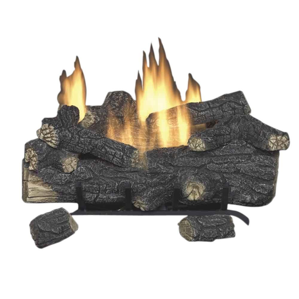Savannah Oak 30 in. Vent-Free Natural Gas Fireplace Logs with Remote