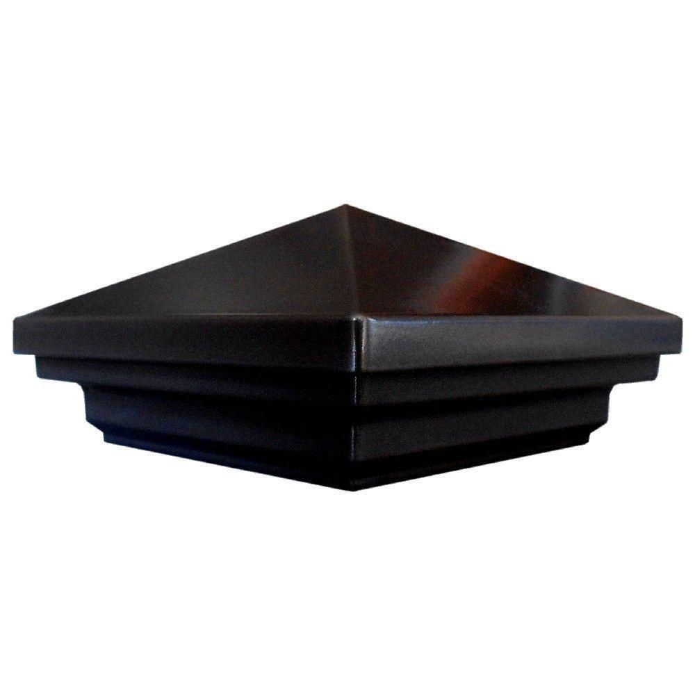 Pegatha 3.5 in. x 3.5 in. Aluminum Black Pyramid Post Cap