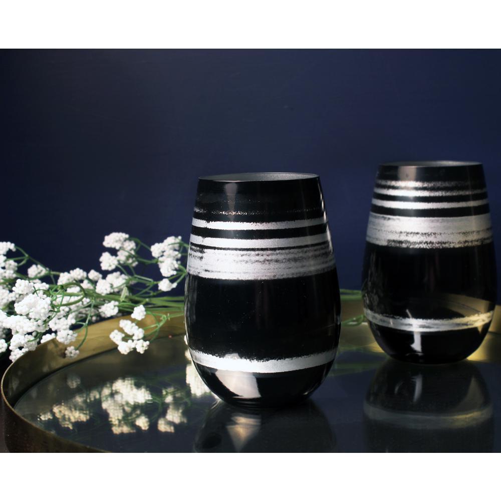 Cosmo 16.5 oz. Stemless Wine Tumbler - Black/Silver (Set of 4)