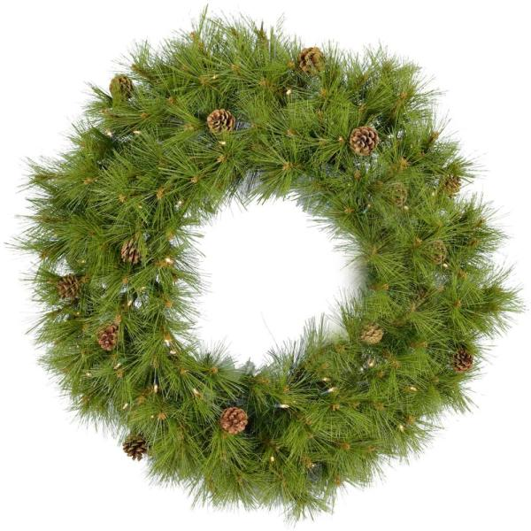 48 in. Eastern Pine Artificial Holiday Wreath with Clear Battery-Operated LED String Lights