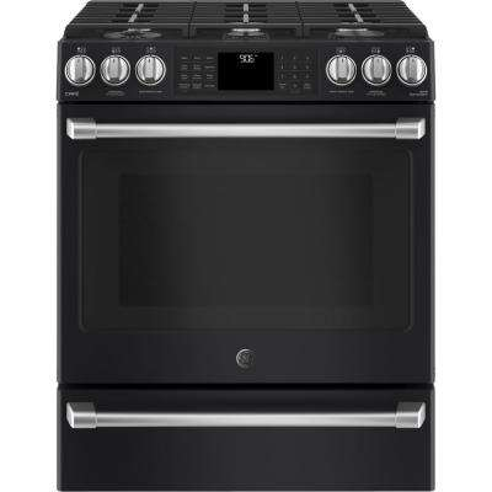 Cafe 5.6 cu. ft. Smart Slide-In Gas Range with Self-Cleaning Convection Oven in Black Slate, Fingerprint Resistant