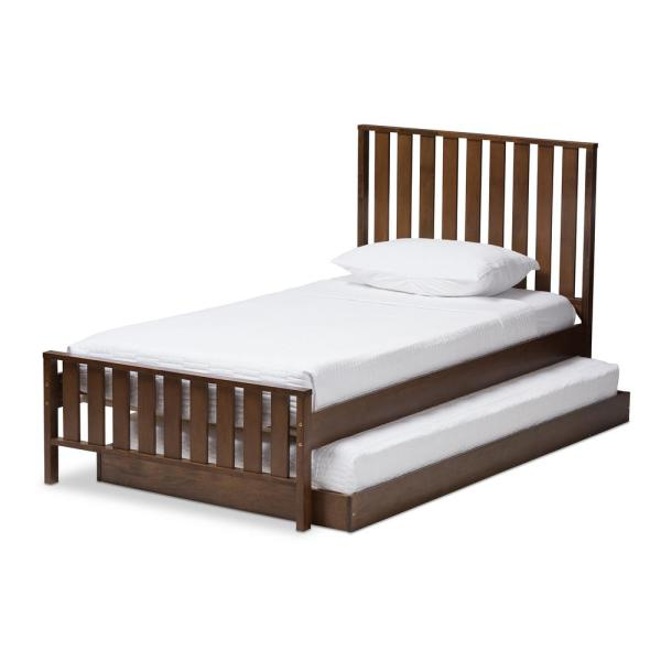 Baxton Studio Harlan Walnut Brown Twin Platform Bed with Trundle 143-78547888-HD