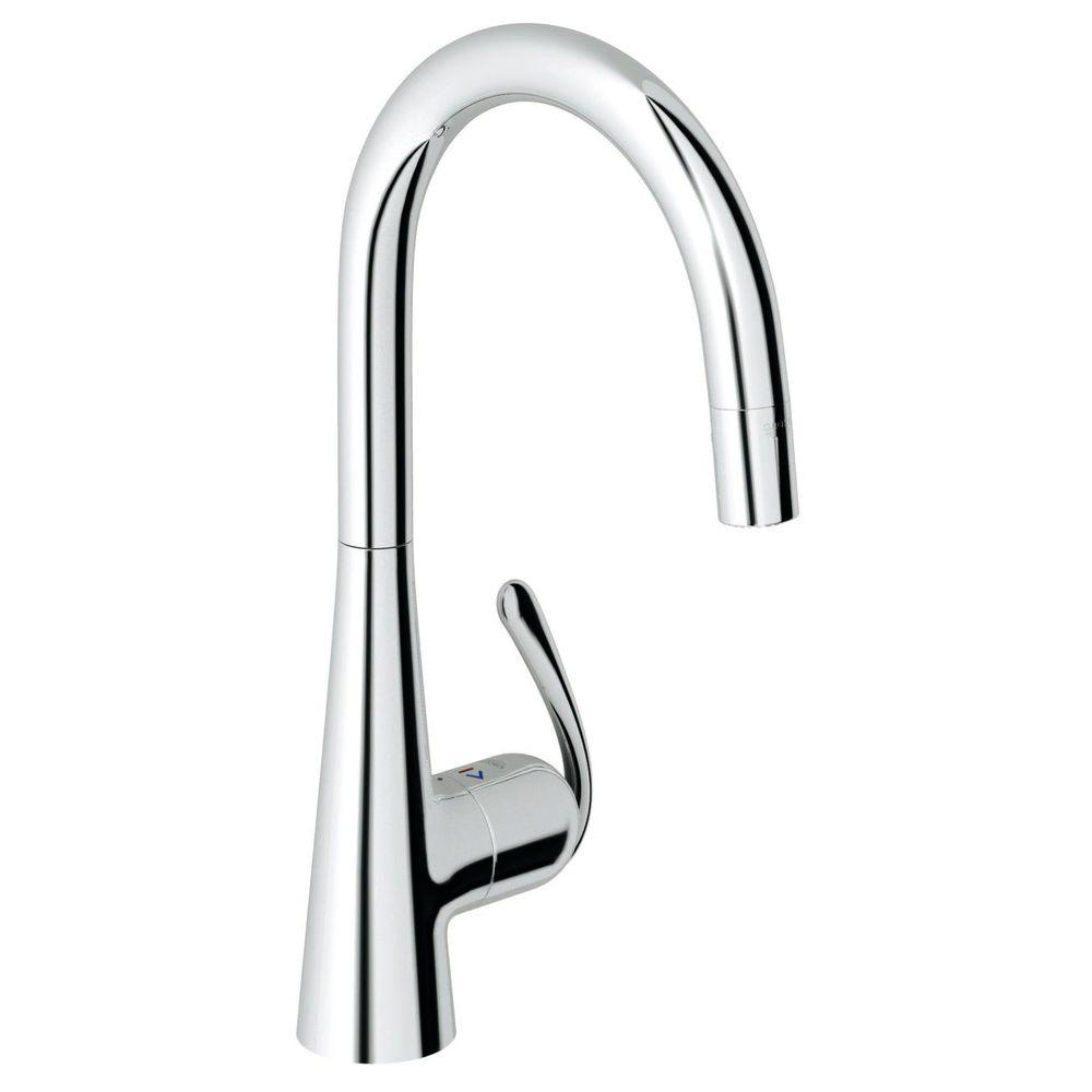 Attractive GROHE Ladylux Pro Main Sink Single Handle Pull Down Sprayer Kitchen Faucet  In Starlight