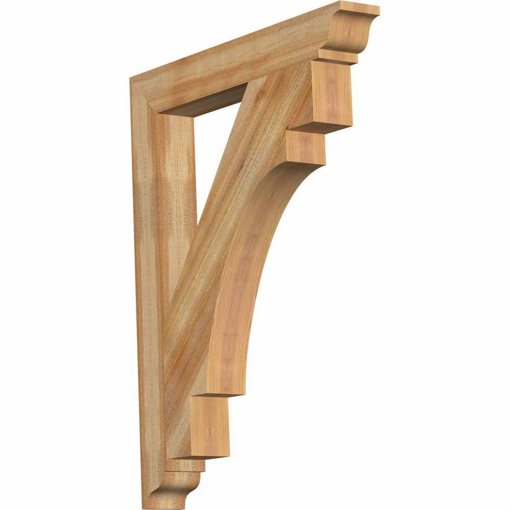 Ekena Millwork 4 in. x 38 in. x 30 in. Western Red Cedar Merced Traditional Rough Sawn Bracket