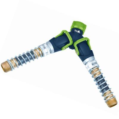 Thumb Control Deluxe Hose Faucet Splitter with Kink Free Savers