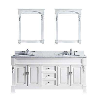 Huntshire 73 in. W Bath Vanity in White with Marble Vanity Top in White with Round Basin and Mirror