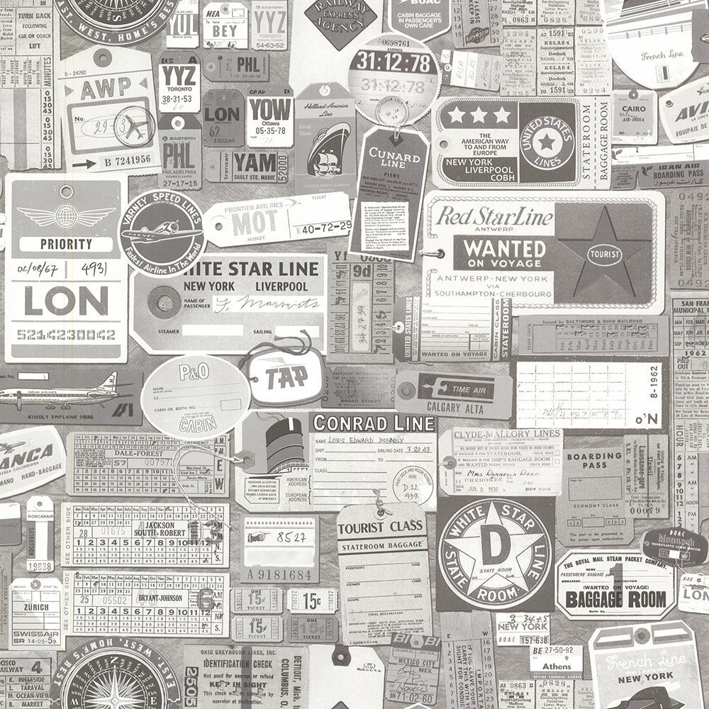 Souvenir Grey Vintage Tags Wallpaper Sample