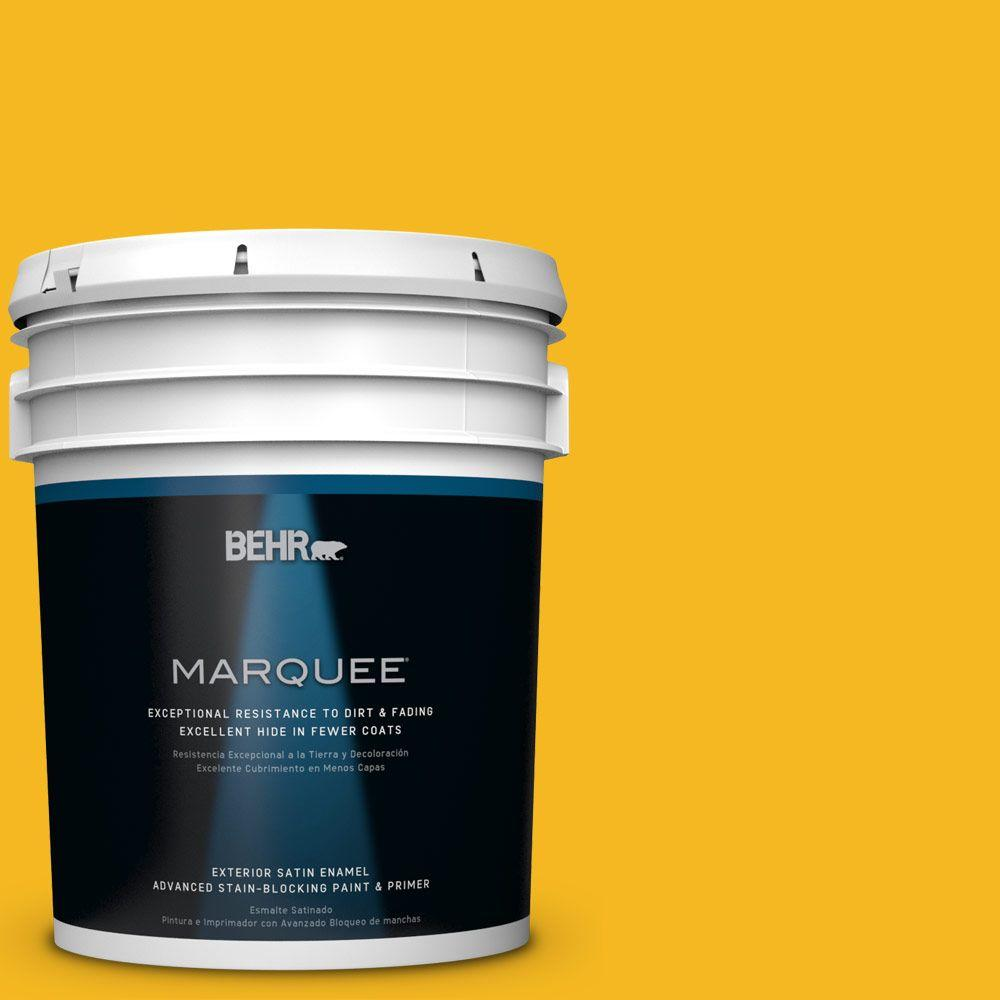 5 gal. #HDC-MD-02A Yellow Groove Satin Enamel Exterior Paint
