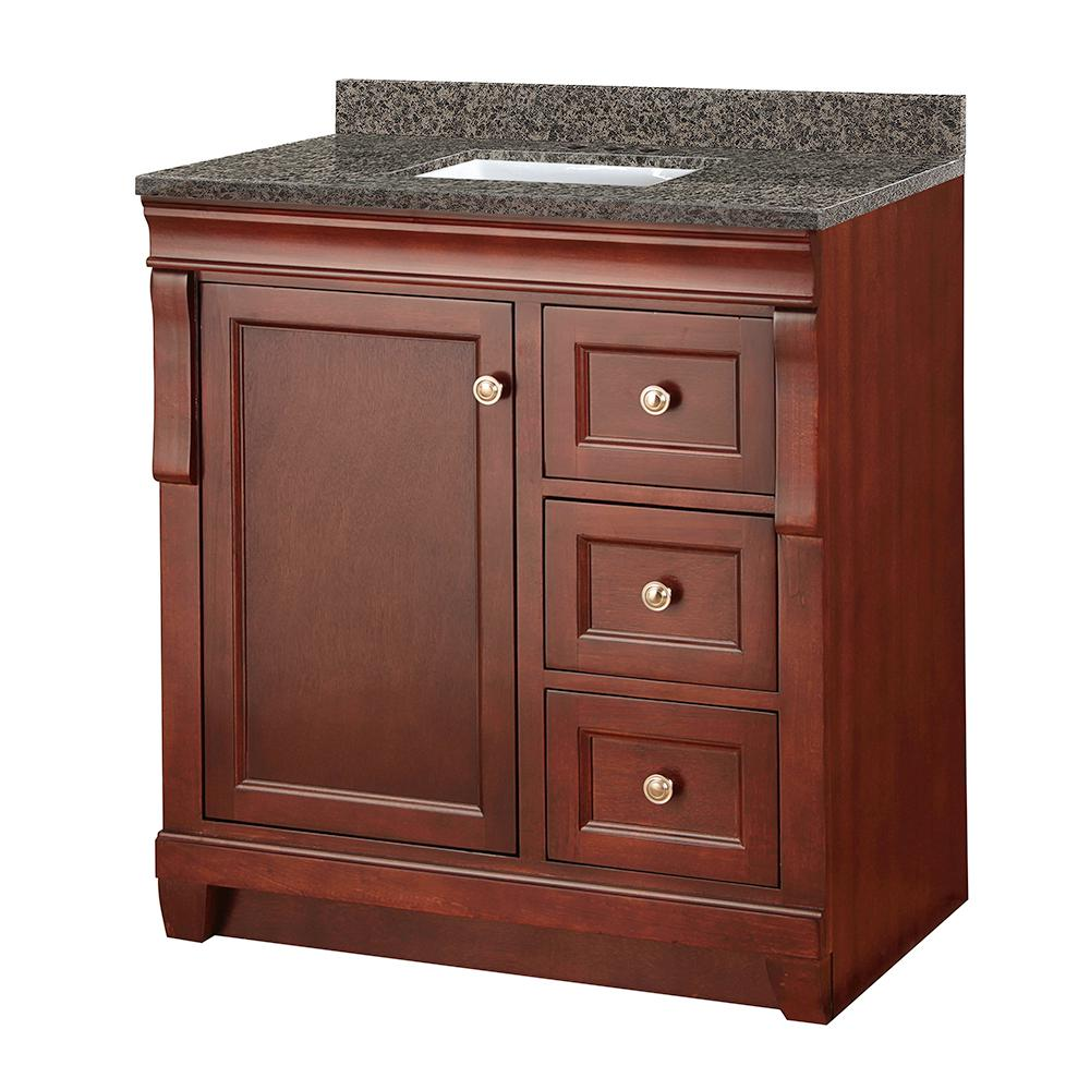 Home Decorators Collection Naples 31 in. W x 22 in. D Vanity in Tobacco with Granite Vanity Top in Sircolo with White Sink was $927.0 now $648.9 (30.0% off)