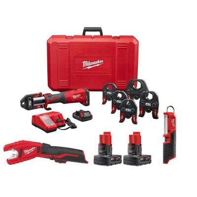 M18 18-Volt Lithium-Ion Brushless Cordless FORCE LOGIC Press Tool Kit W/ M12 Copper Tubing Cutter, Battery & Light