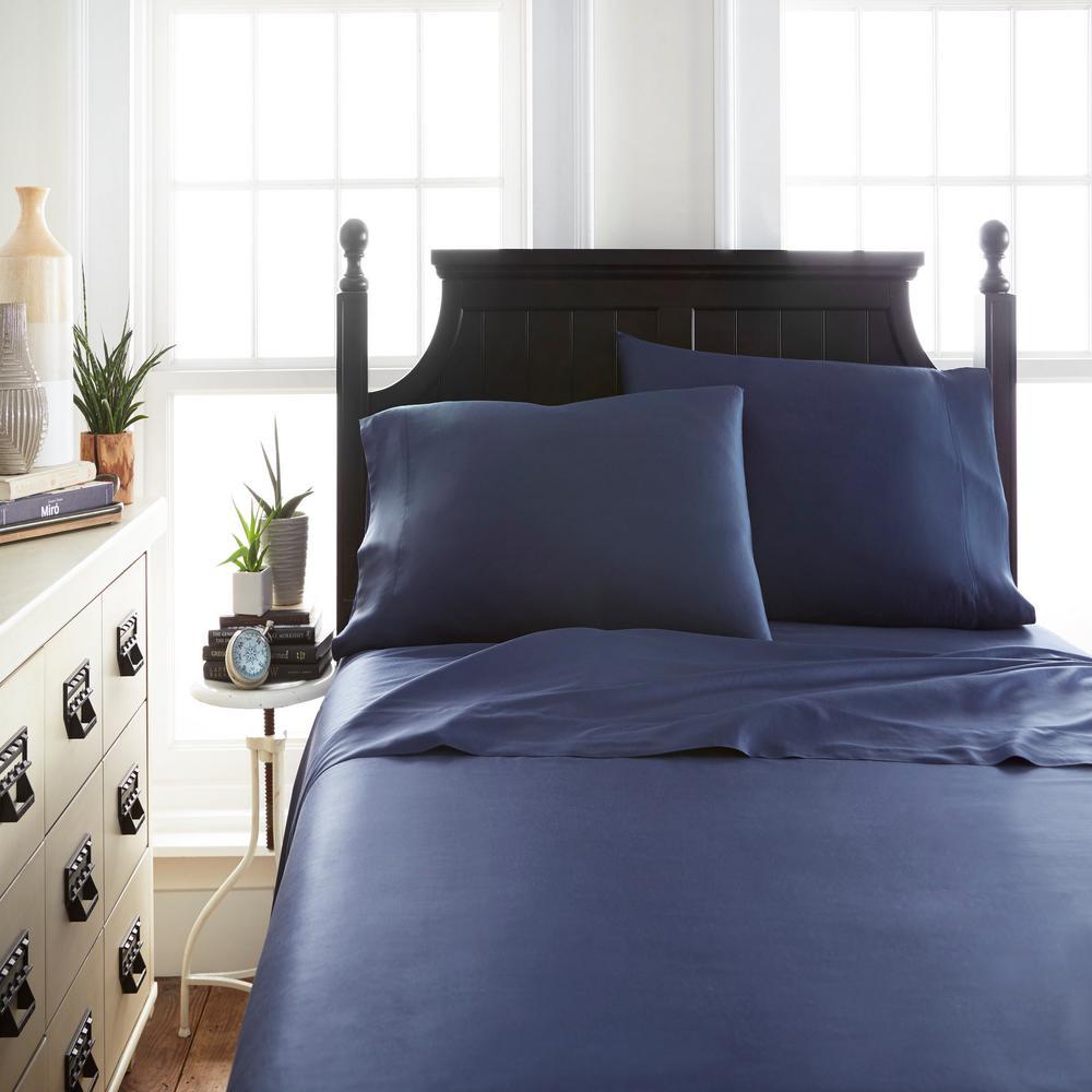 Becky Cameron Bamboo 4 Piece Navy California King Bed Sheet Set