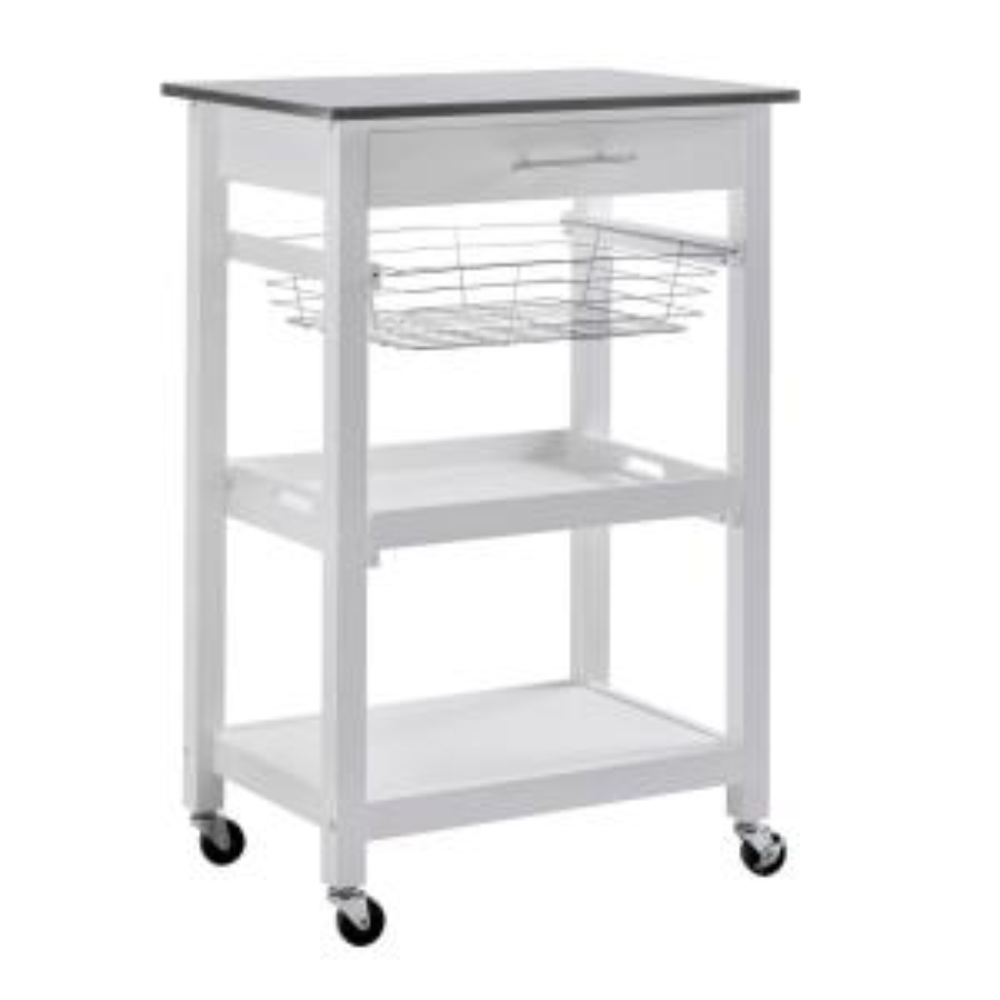 Sunjoy Linda Rolling Kitchen Island Cart With Storage Shelf