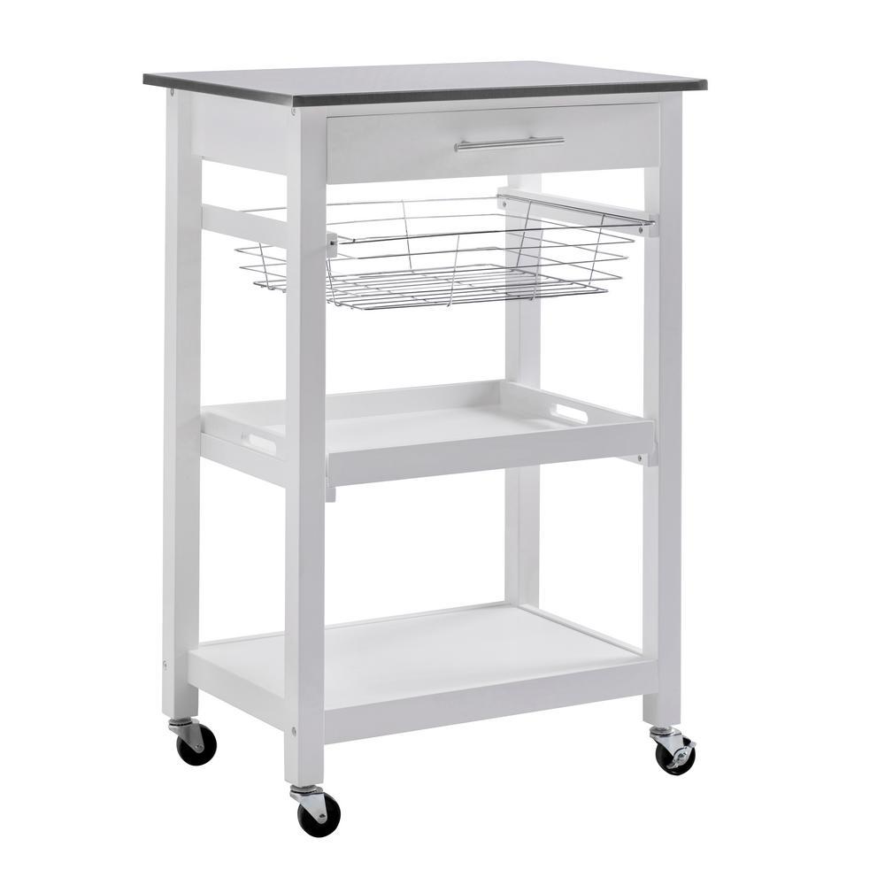 Linden White Kitchen Cart