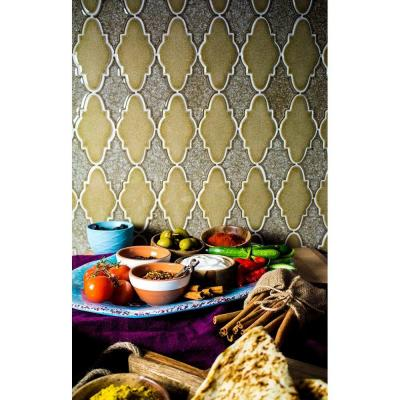 Roman Selection Iced Gold Arabesque 12-1/4 in. x 13-3/4 in. x 8 mm Glass Mosaic Tile