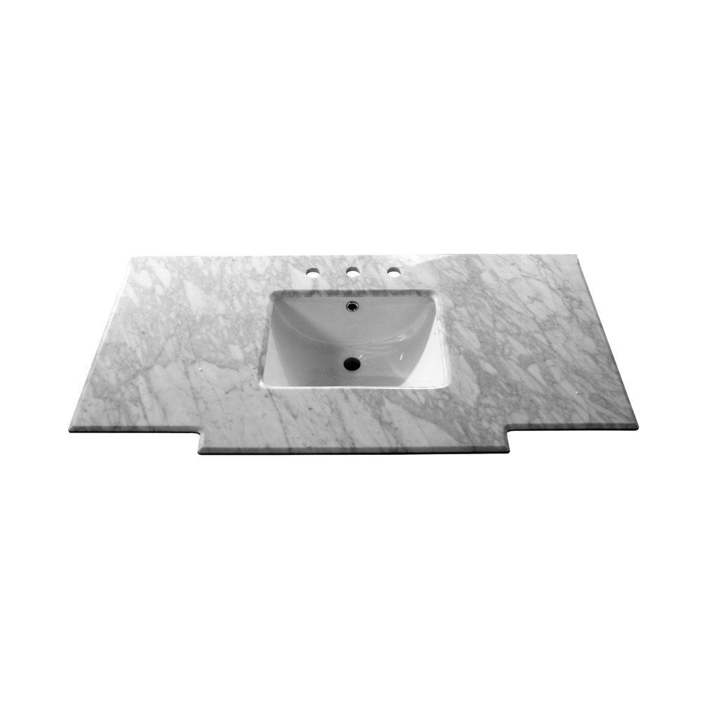 Petaluma 45 in. W x 22.2 in. D Marble Single Basin Vanity Top in White with White Basin