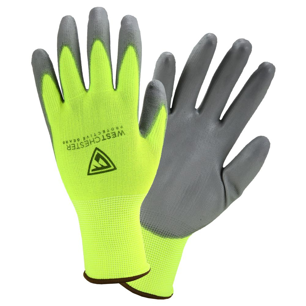 West Chester Protective Gear Touch Screen Hi-Vis Yellow PU Palm Coated Nylon Gloves (3-Pack)