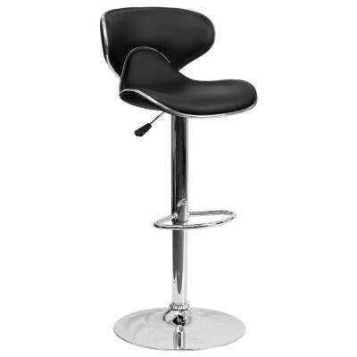Adjustable Height Black Cushioned Bar Stool