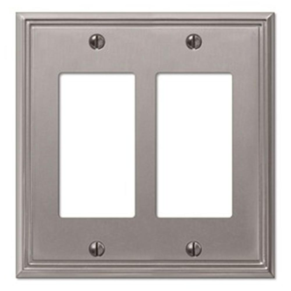 Creative Accents Metro Line 2 Decorator Wall Plate - Brushed Nickel-DISCONTINUED