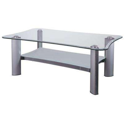 Catherine 2-Shelf Glass Coffee Table in Chrome and Silver