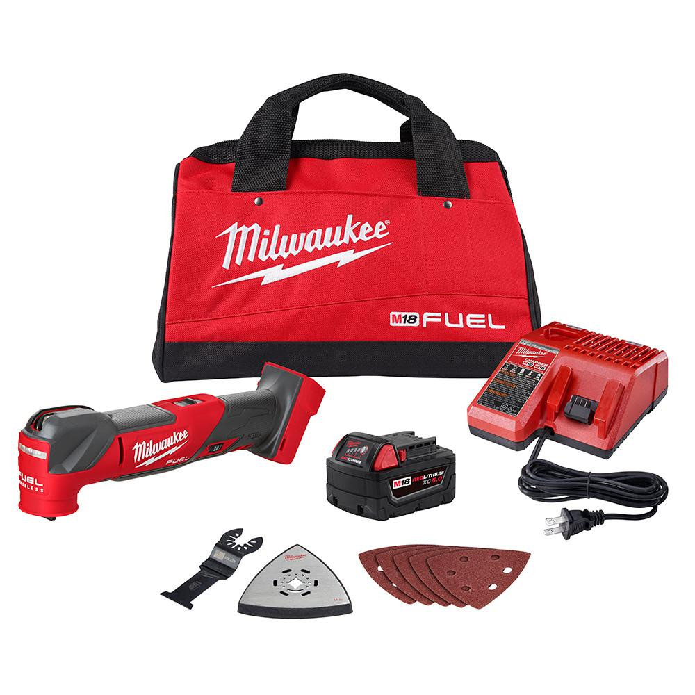 Milwaukee M18 FUEL 18-Volt Lithium-Ion Cordless Brushless Oscillating Multi-Tool Kit w/ one 5.0 Ah Battery, Charger and Tool Bag