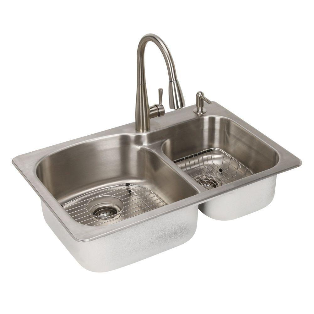 All In One Dual Mount Stainless Steel 33 2 Hole Double Bowl Kitchen Sink