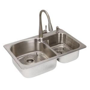 Glacier bay all in one dual mount stainless steel 33 in 2 - Glacier bay drop in bathroom sink ...