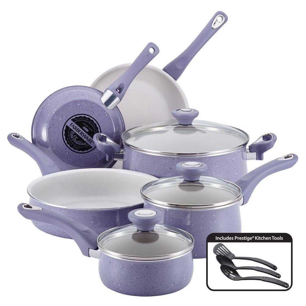 New Traditions 12-Piece Lavender (Purple) Cookware Set wi...