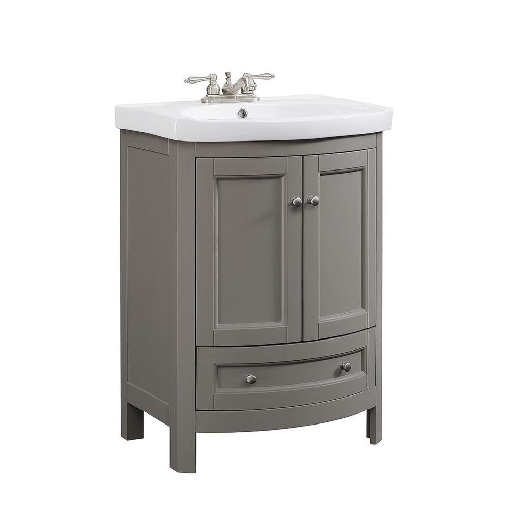 Runfine 24 In W X 18 D 34 Wood Gray Vanity With White Vitreous China Top And Basin