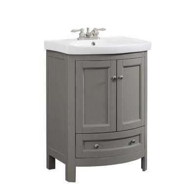 24 in. W x 18 in. D x 34 in. Wood Gray Vanity with White Vitreous China Vanity Top and Basin