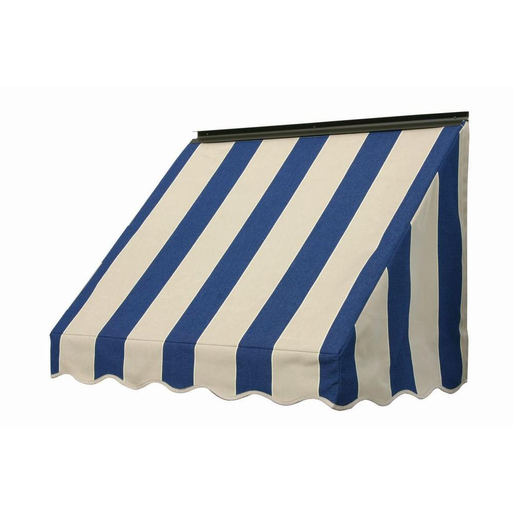 NuImage Awnings 3 ft. 3700 Series Fabric Window Awning (23 in. H x 18 in. D) in Mediterranean/Canvas Block Stripe