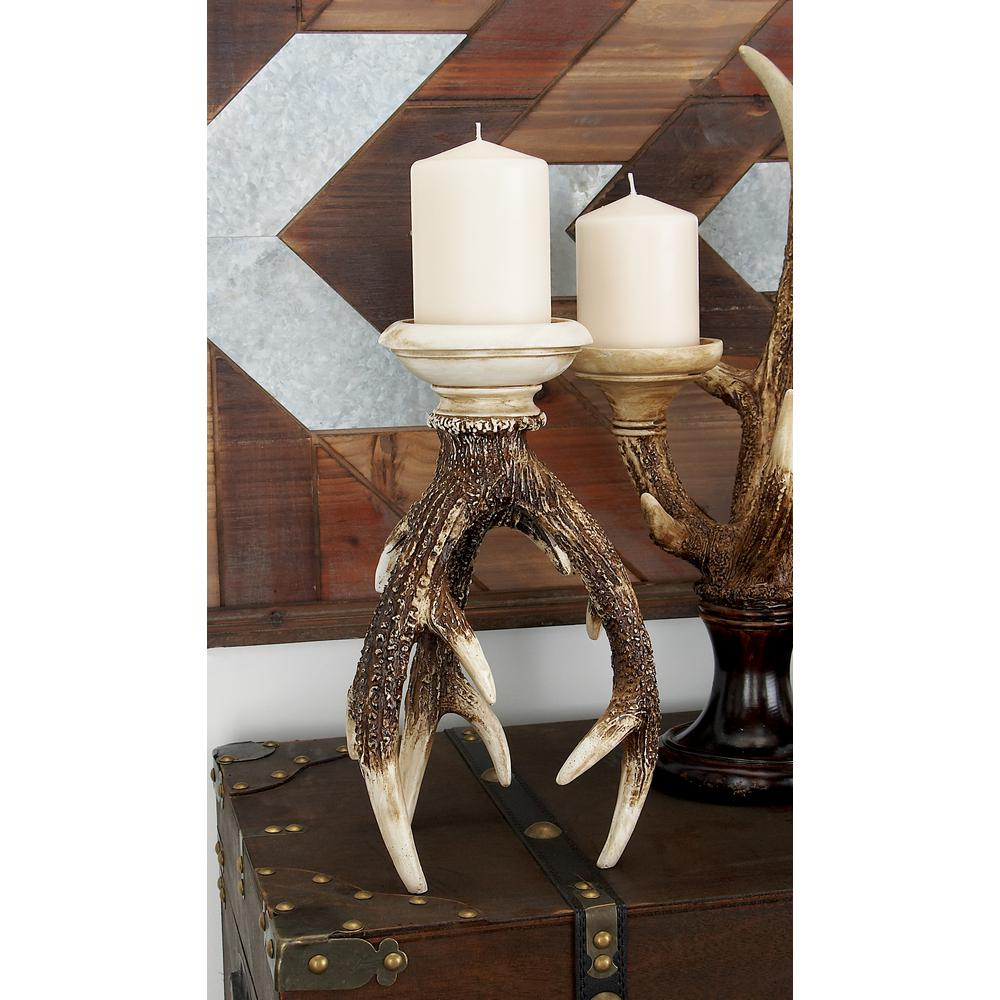 12 in. Mahogany Brown and Bone White Inverted Antlers Candle Holder