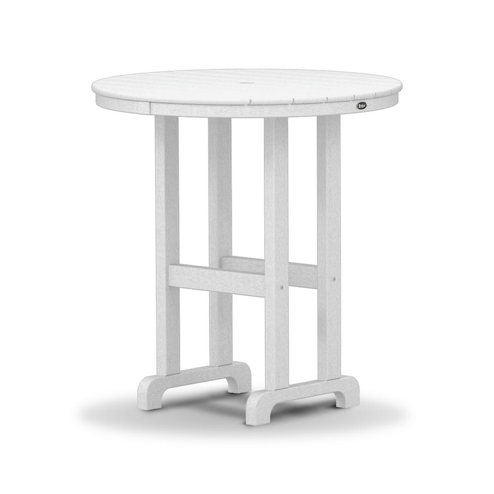 Monterey Bay 36 in. Classic White Round Plastic Outdoor Patio Counter