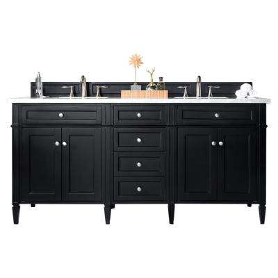 Brittany 72 In W Double Vanity In Black Onyx With Marble Vanity Top In Carrara White With White Basin