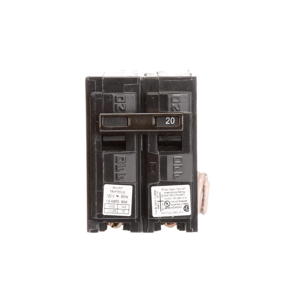 [DIAGRAM_38IU]  Siemens 20 Amp 1-Pole 10 kA Type QP with Shunt Trip Circuit Breaker-Q12000S01  - The Home Depot | Wiring Diagram Shunt Trip Breaker Circuits This |  | The Home Depot