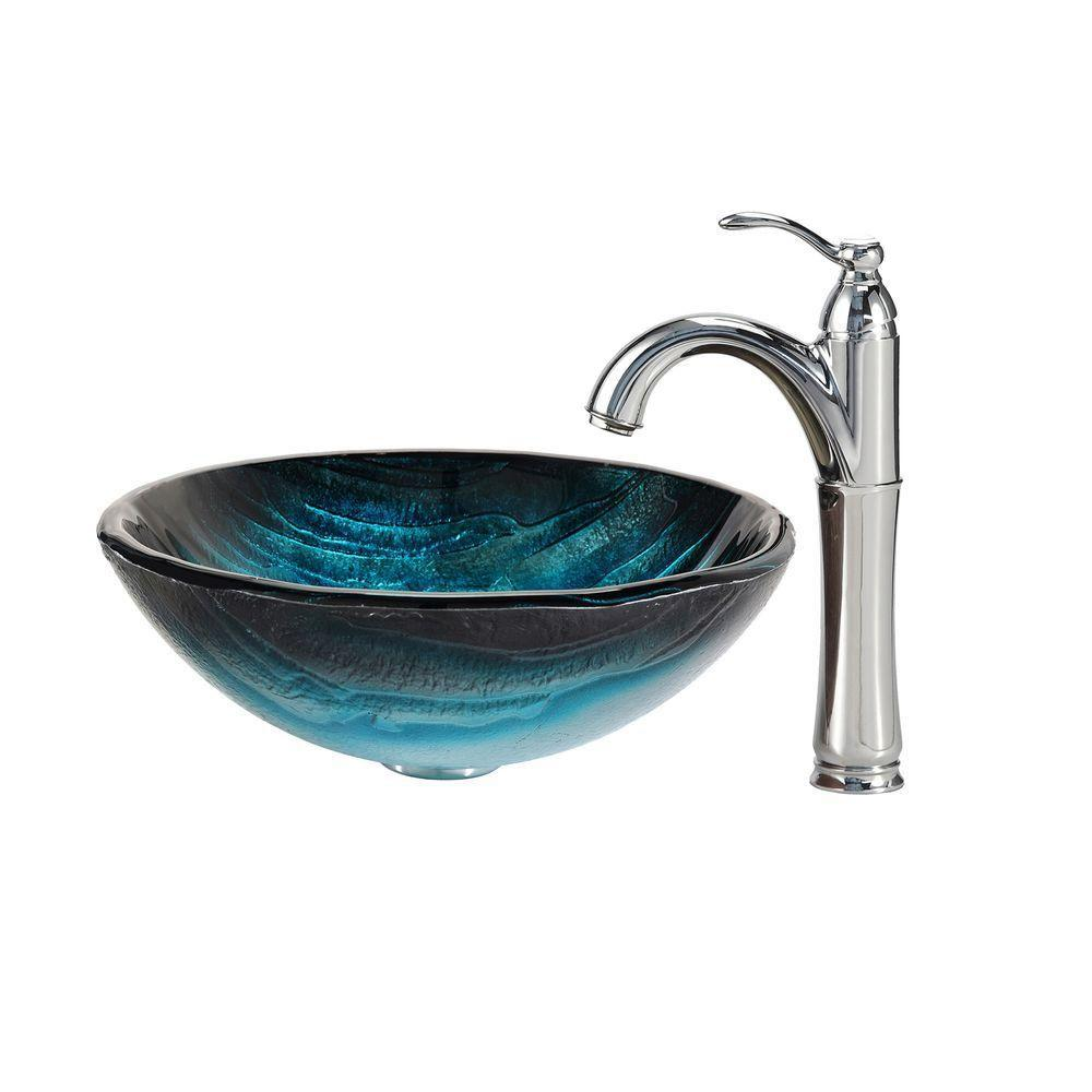 Ladon Glass Vessel Sink in Blue with Riviera Faucet in Chrome