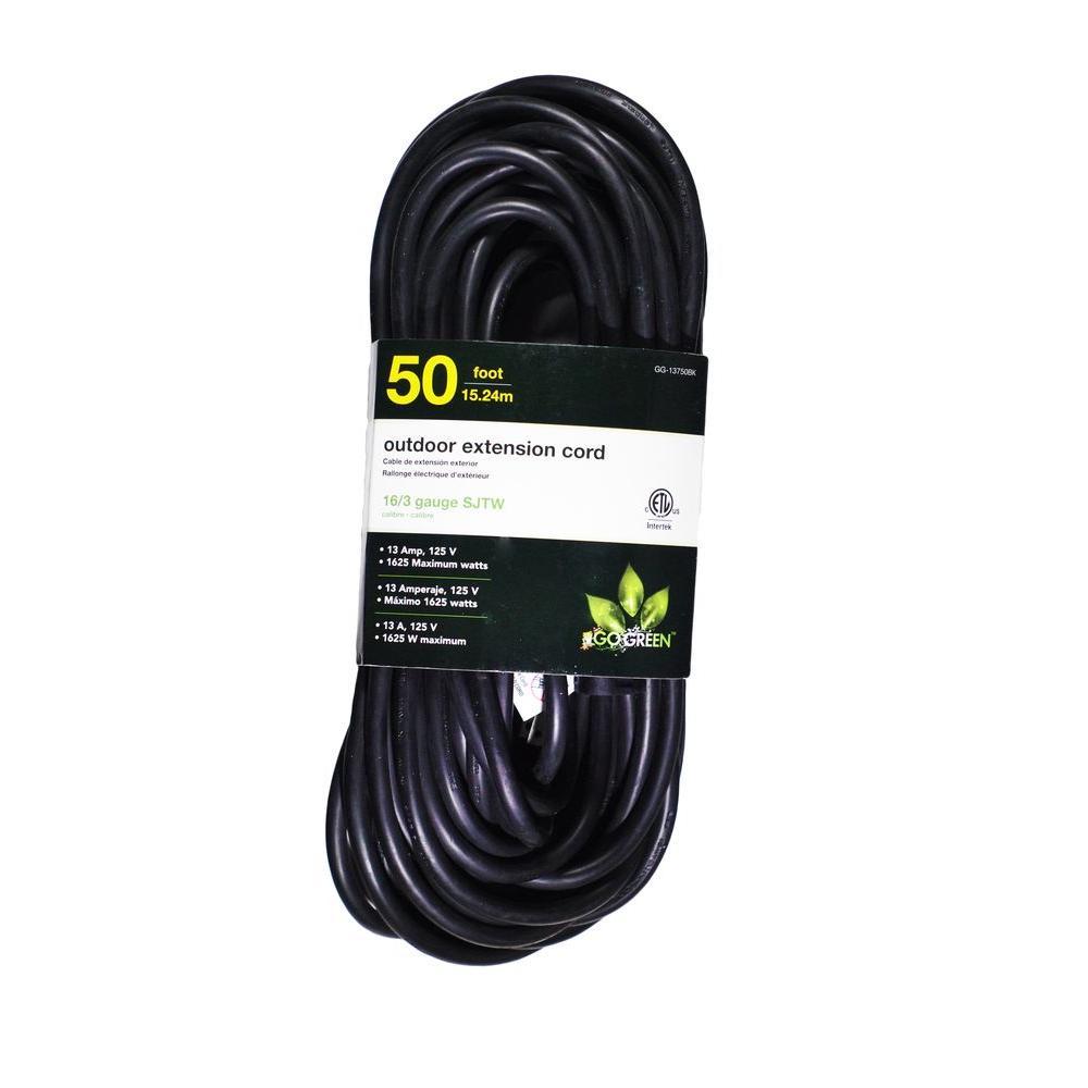 50 ft. 16/3 SJTW Outdoor Extension Cord - Black