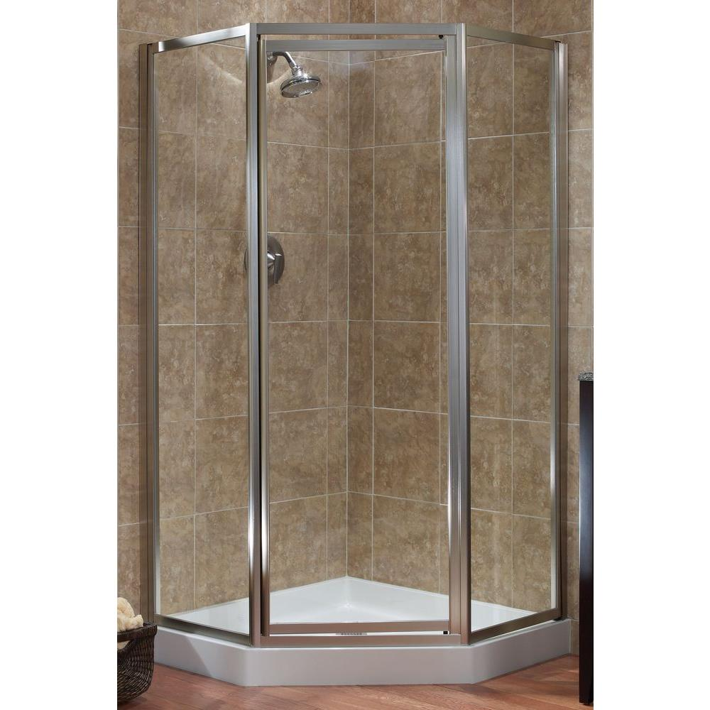 Foremost Tides 18-1/2 in. x 24 in. x 18-1/2 in. x 70 in. Framed Neo-Angle Shower Door in Brushed Nickel and Clear Glass