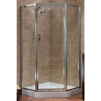 Tides 16-3/4 in. x 24 in. x 16-3/4 in. x 70 in. Framed Neo-Angle Shower Door in Brushed Nickel and Clear Glass