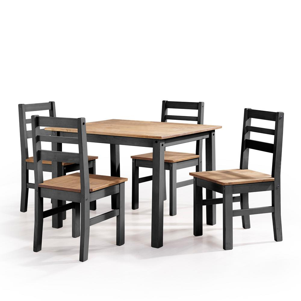 Dark Wood Dining Set: Manhattan Comfort Maiden 5-Piece Black Wash Solid Wood Dining Set With 1-Table And 4-Chairs