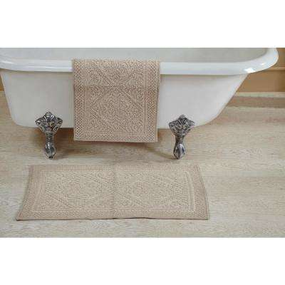 Jaquard Beige 17 in. x 24 in. and 21 in. x 34 in. Bath Rug Set (2-Piece)