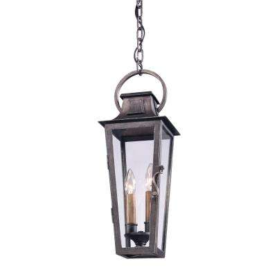 French Quarter 2-Light Aged Pewter Outdoor Hanging Pendant