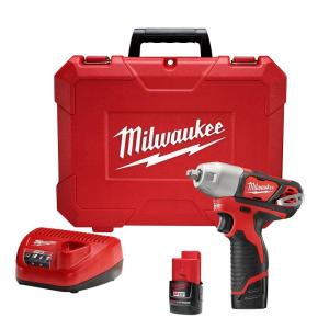 Milwaukee M12 12-Volt Lithium-Ion Cordless 3/8 inch Impact Wrench Kit W/ (2) 1.5Ah Batteries, Charger & Hard Case by Milwaukee