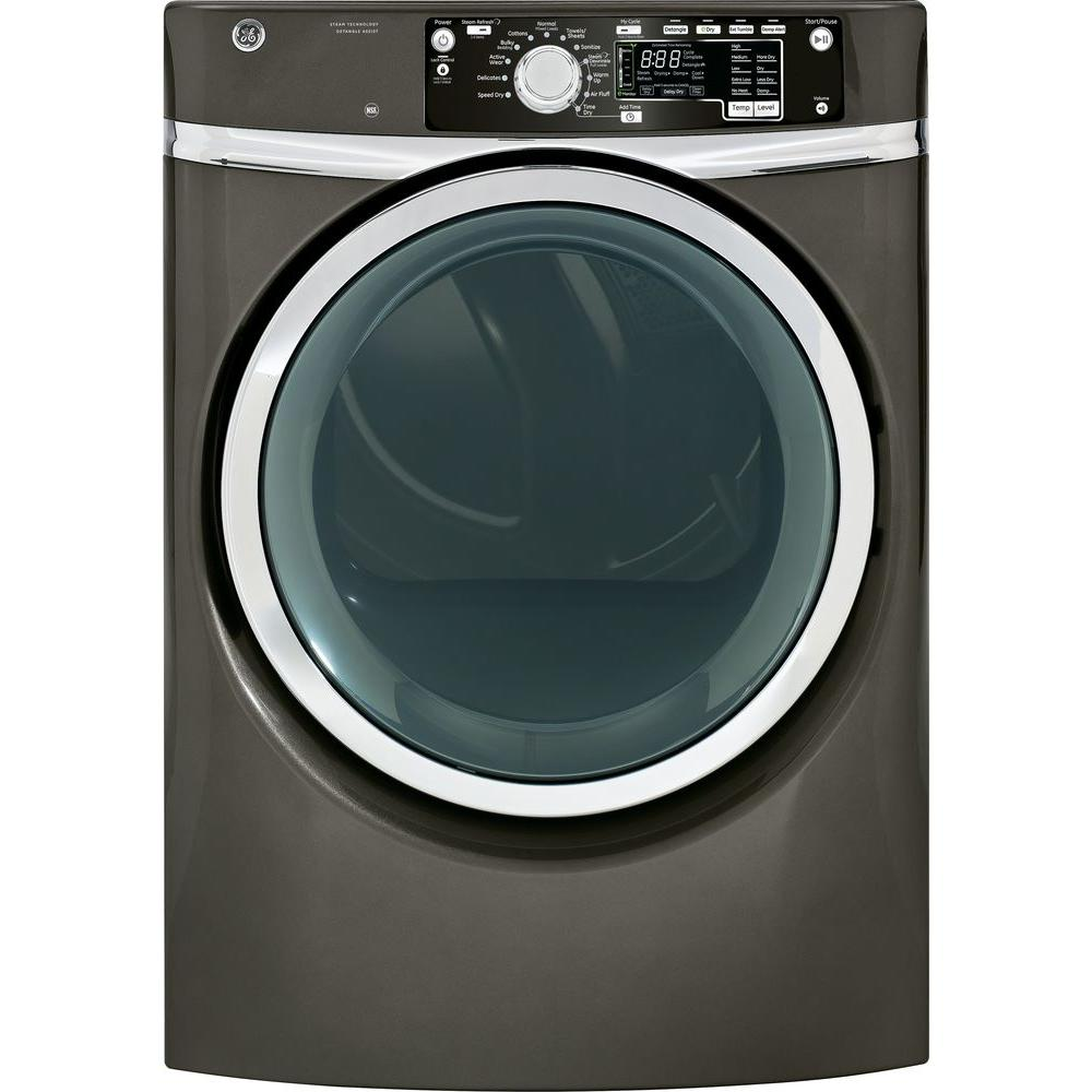 GE 8.1 cu. ft. Electric Dryer with Steam in Metallic Carbon