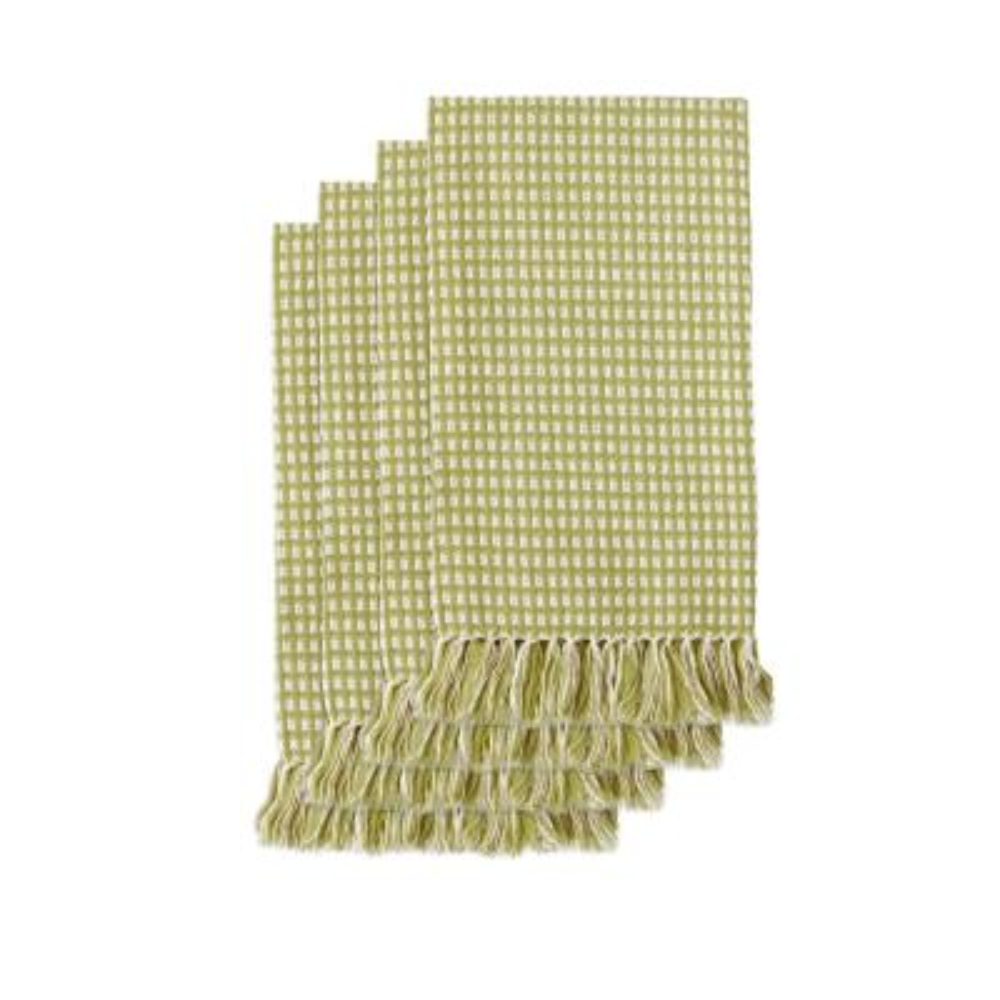 Homespun Fringed 18 in. x 18 in. Sage 100% Cotton Napkins (4-Pack)