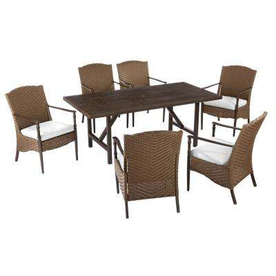 Bolingbrook 7-Piece Wicker Outdoor Dining Set with Cushions Included, Choose Your Own Color