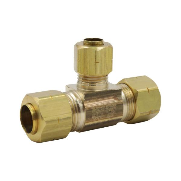 3/8 in. x 3/8 in. x 1/4 in. OD Compression Brass Tee Fitting