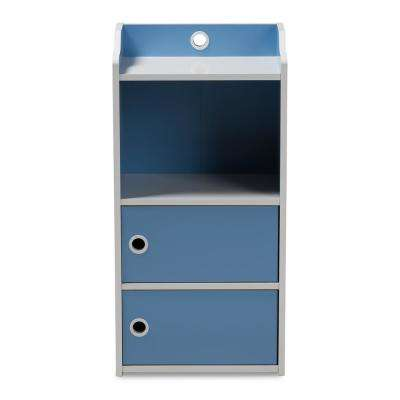 Aeluin Blue and White 3-Door Bookcase