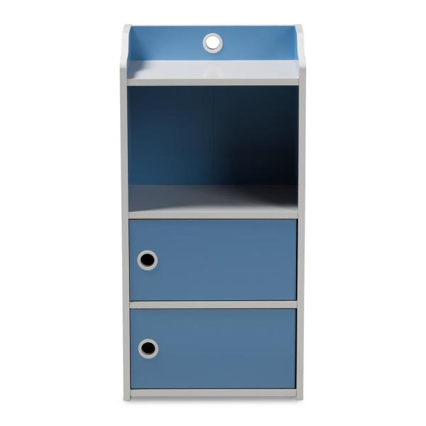 Baxton Studio Aeluin Blue and White 3-Door Bookcase