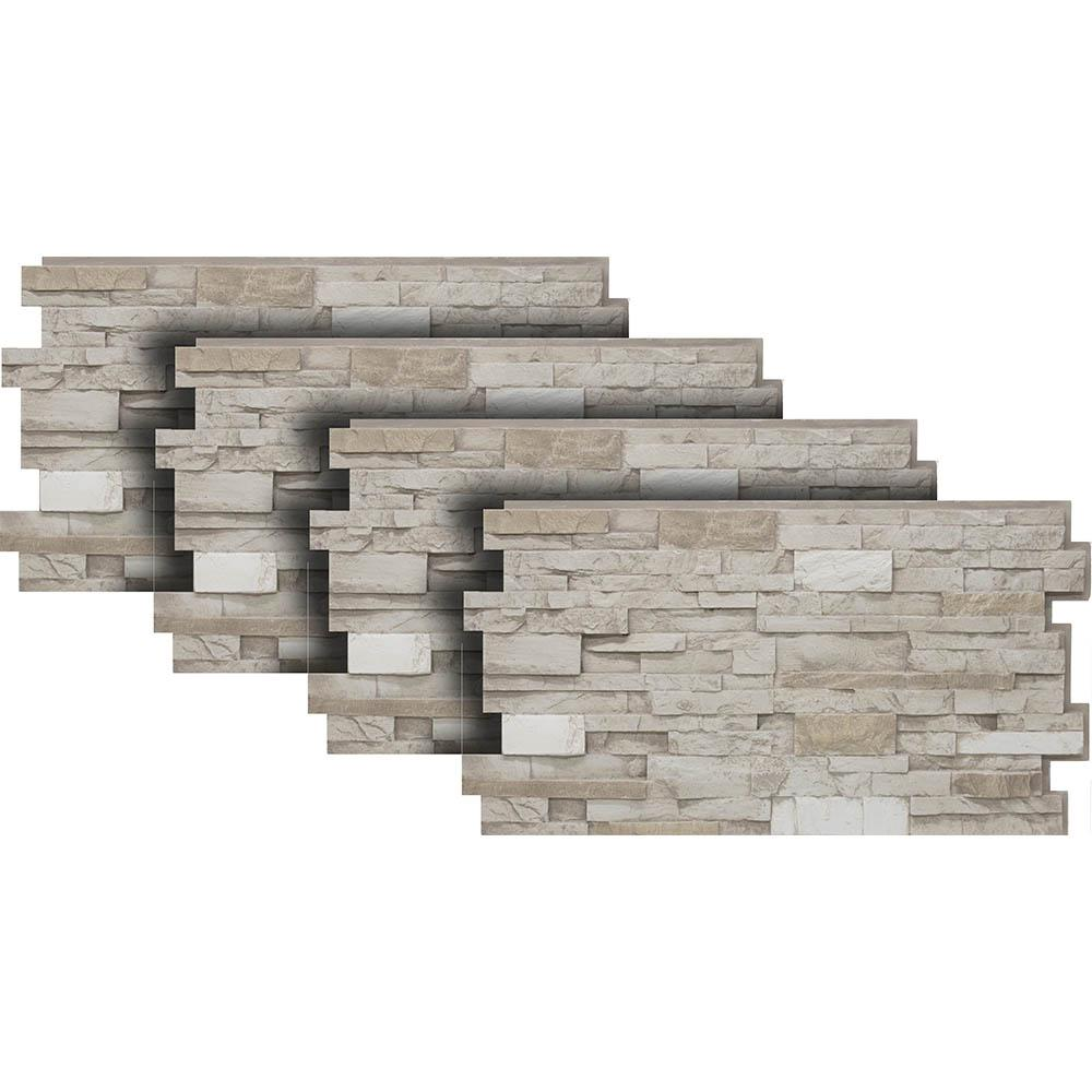 8526eda239db Urestone 24 in. x 48 in. Stacked Stone in Almond Taupe (4-Pack ...