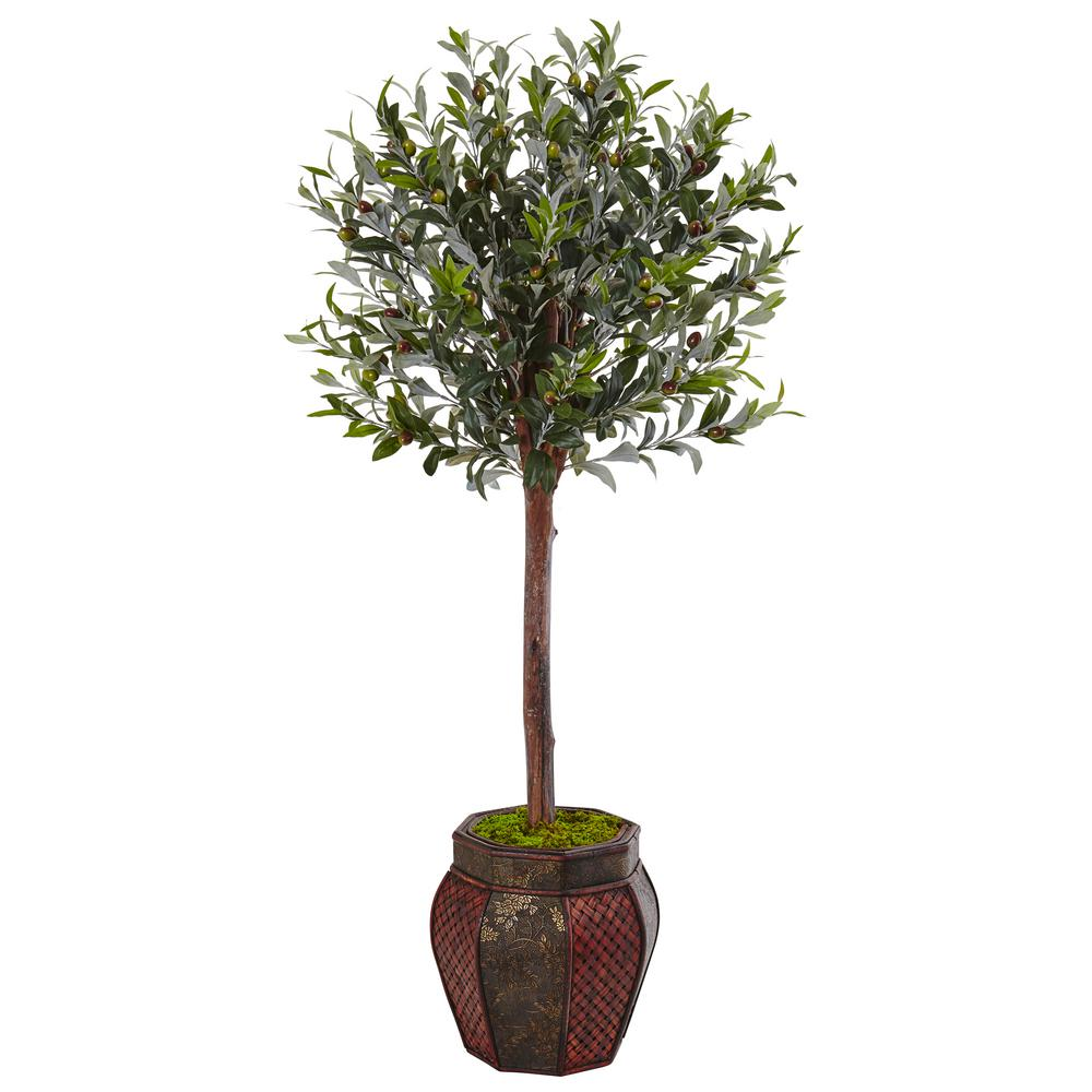 Nearly Natural Indoor Olive Topiary Artificial Tree In